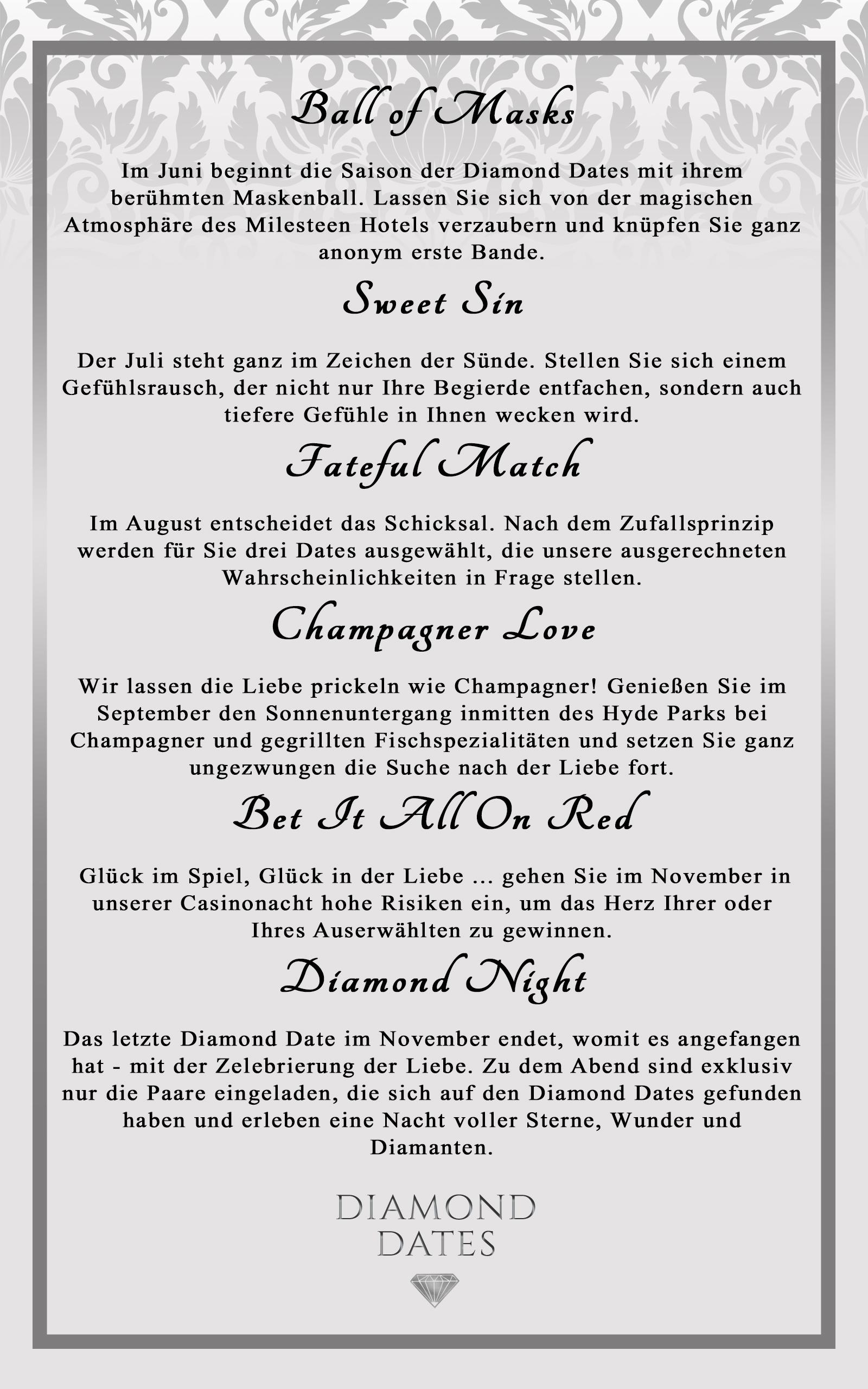 Diamond Dates auf einen Blick